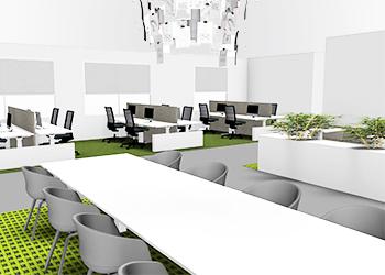 Voorbeeld van een kantoorinrichting in 3D